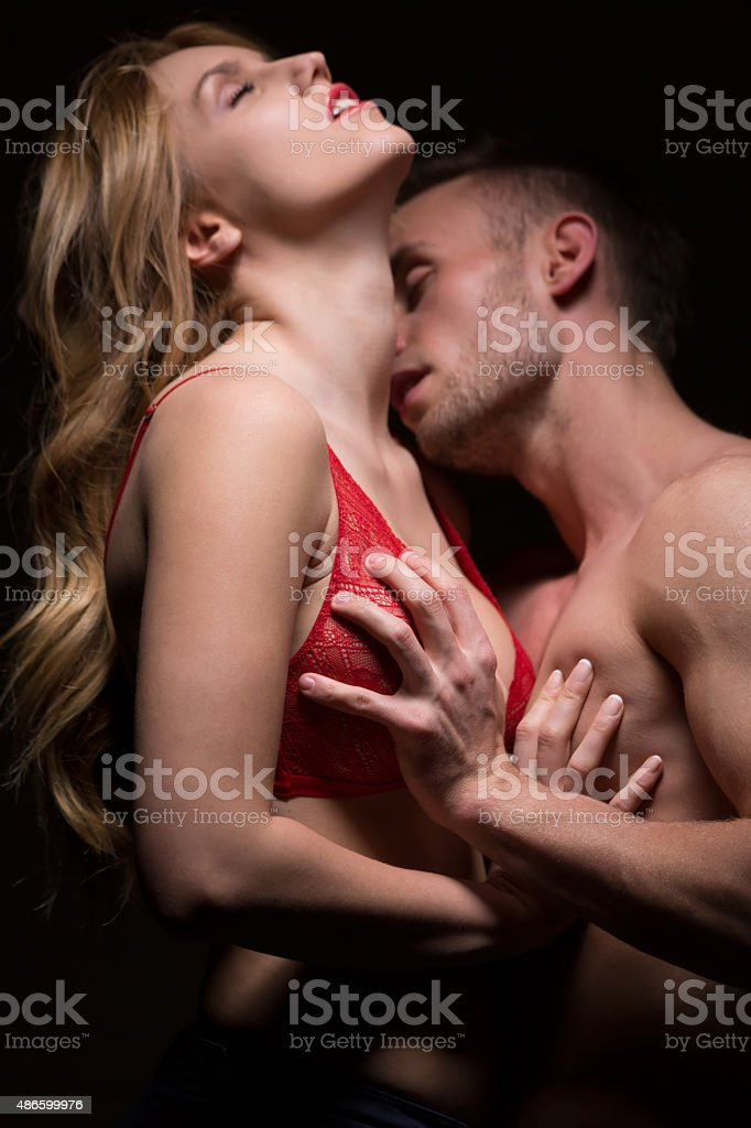 Couple and foreplay stock photo