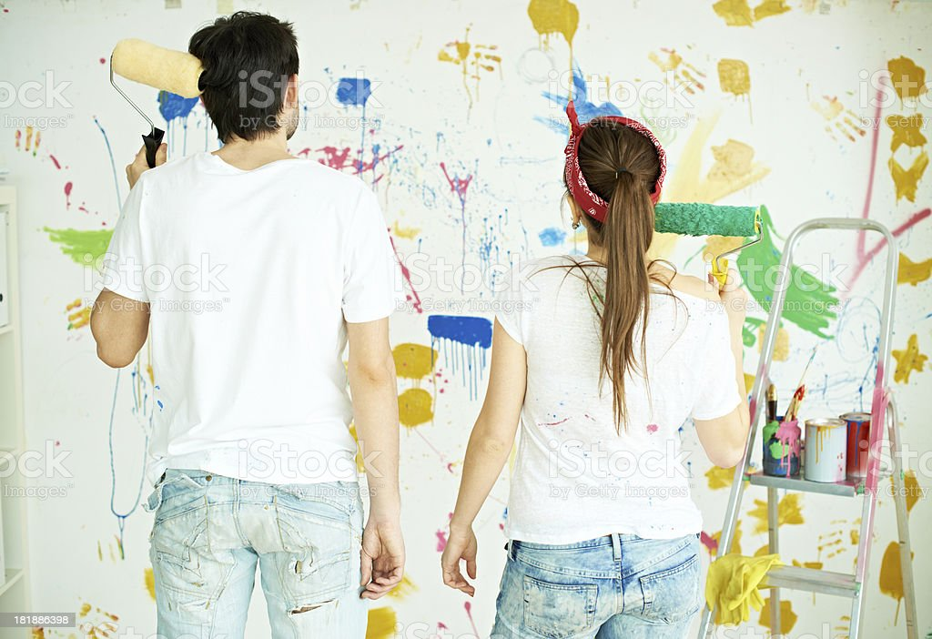 Couple and painting royalty-free stock photo