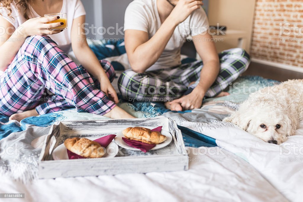 Couple and thier dog Eating Breakfast in bed stock photo