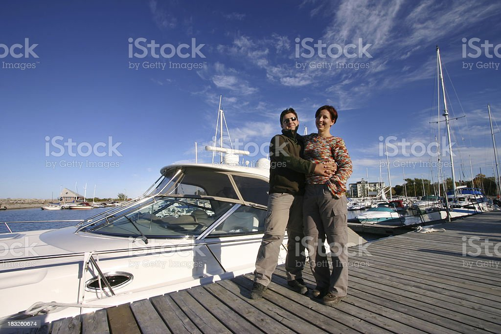 Couple and Yacht royalty-free stock photo