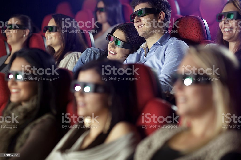 Couple andf Audience Watching 3-d Movie royalty-free stock photo
