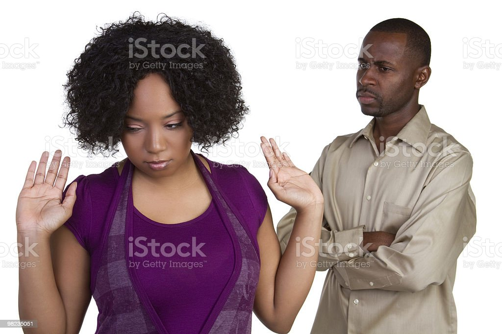 A couple arguing on a white background stock photo