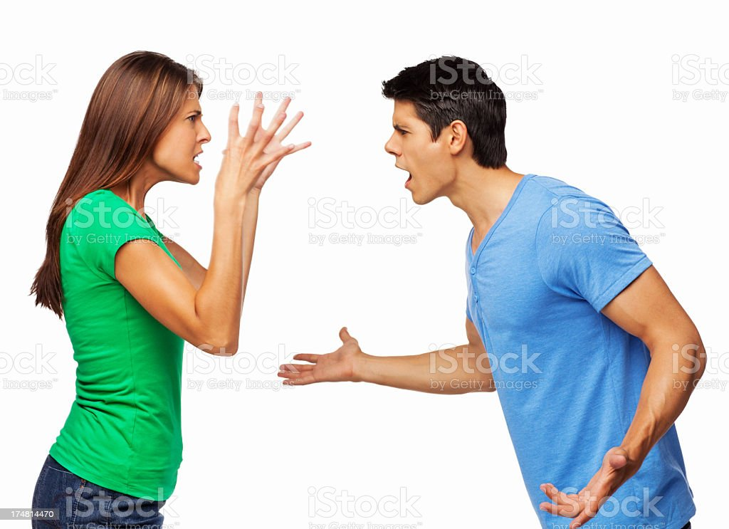 Couple Arguing With Each Other - Isolated royalty-free stock photo
