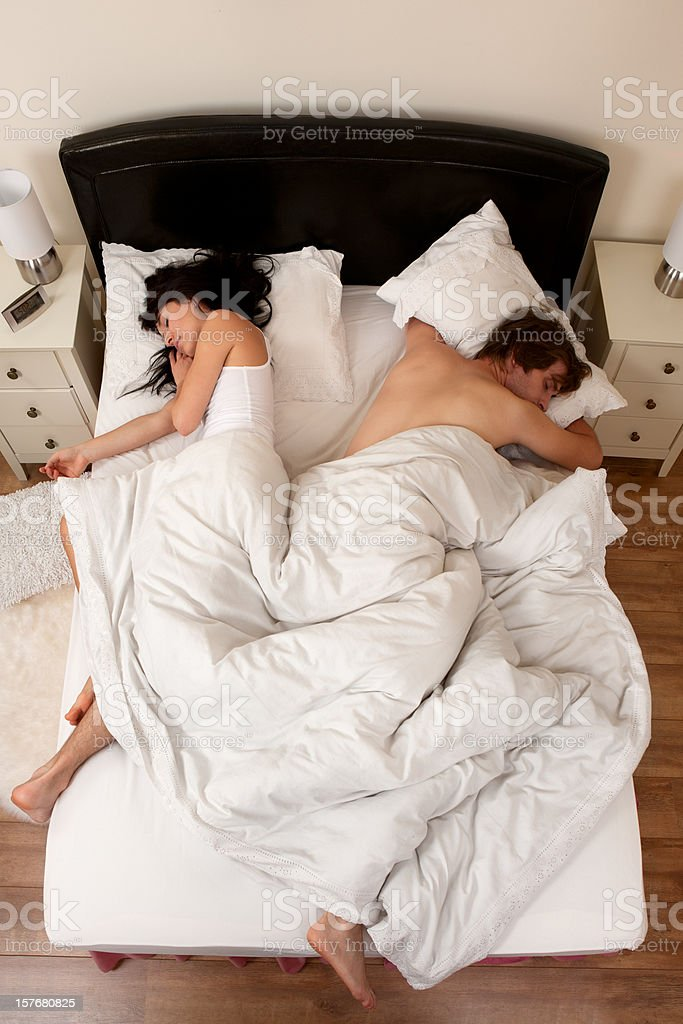Couple asleep stock photo