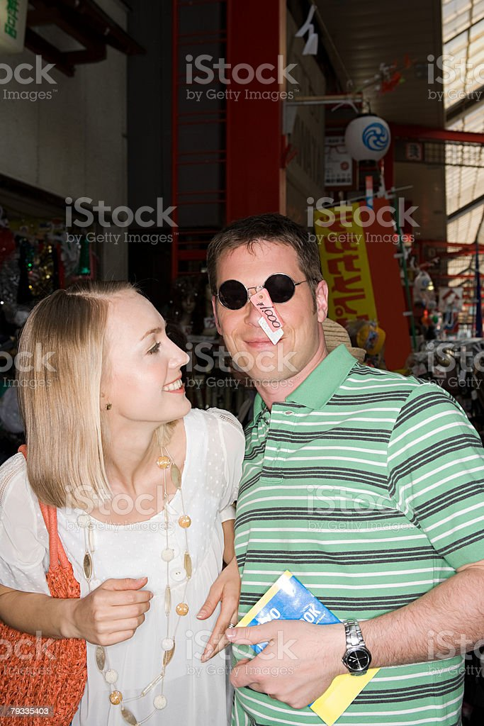 Couple at a japanese market royalty-free stock photo
