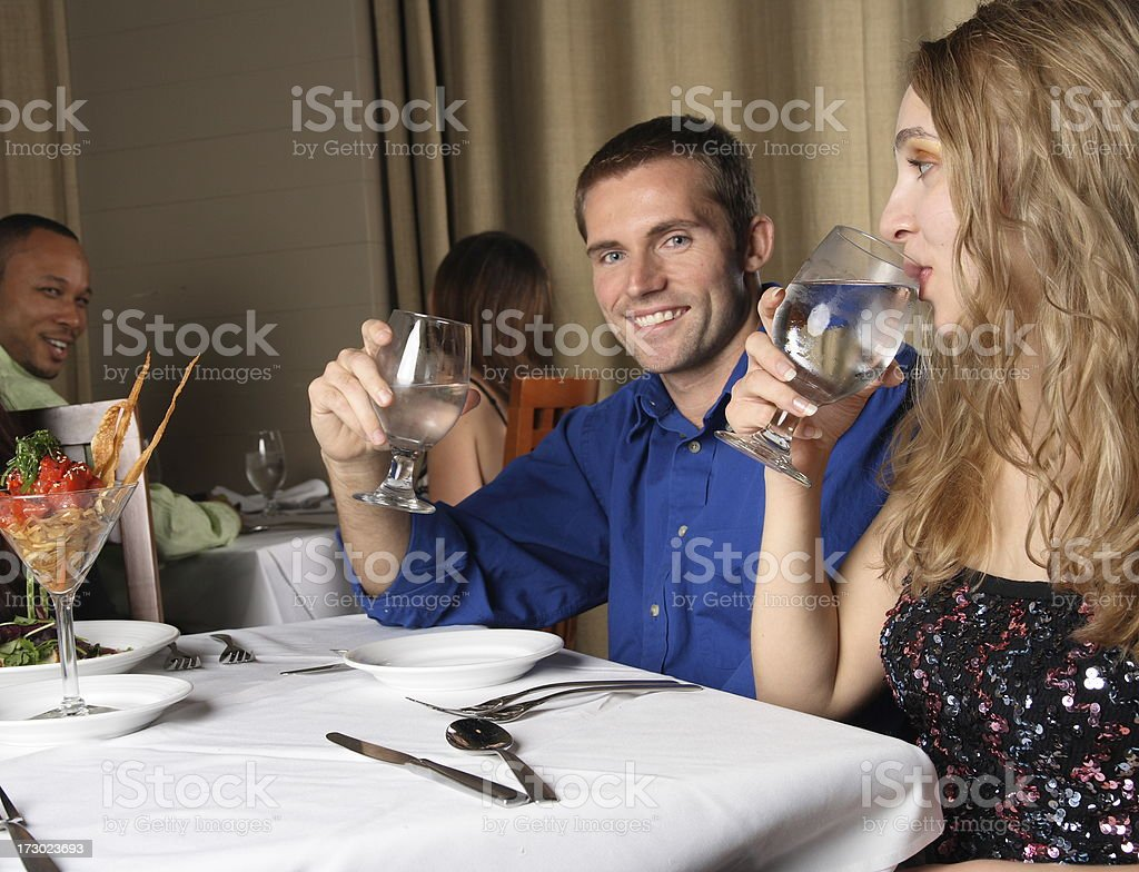 Couple at a Lovely Dinner royalty-free stock photo