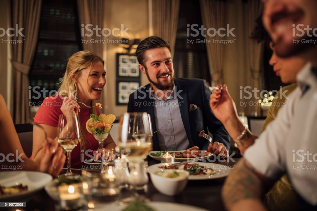Couple At A Restaurant Meal stock photo