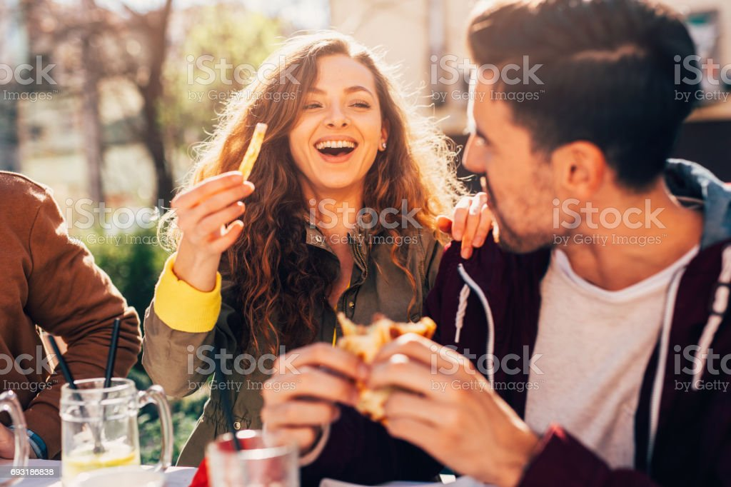 Couple at a restaurant stock photo