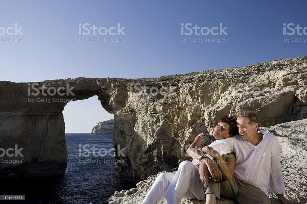 Couple at Azure Window royalty-free stock photo