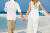 Couple At Beautiful Beach Wedding Holding Hands Walking Away From Camera