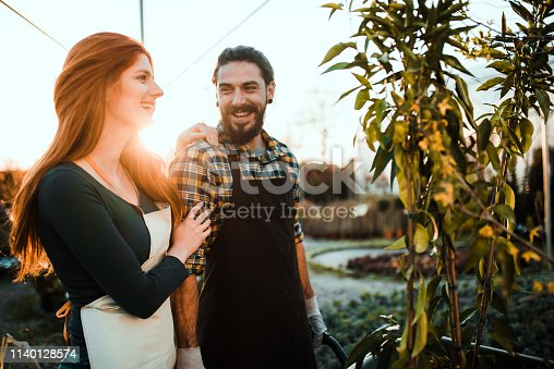 Happy young couple working outdoors