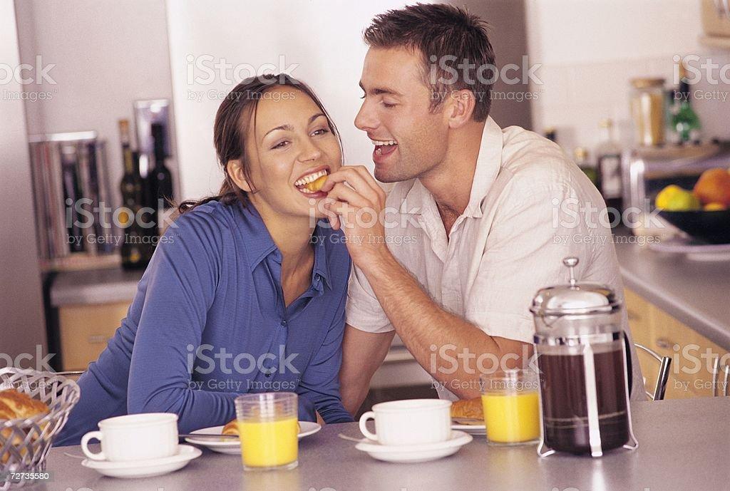 Couple at breakfast royalty-free stock photo