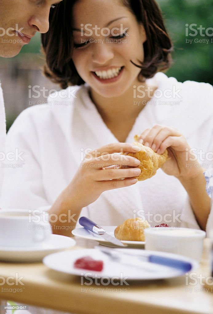 Couple at breakfast royalty-free stock photo