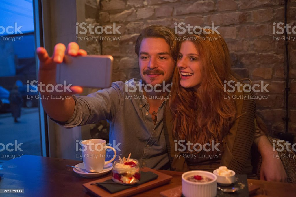 Couple at cafe. royalty-free stock photo