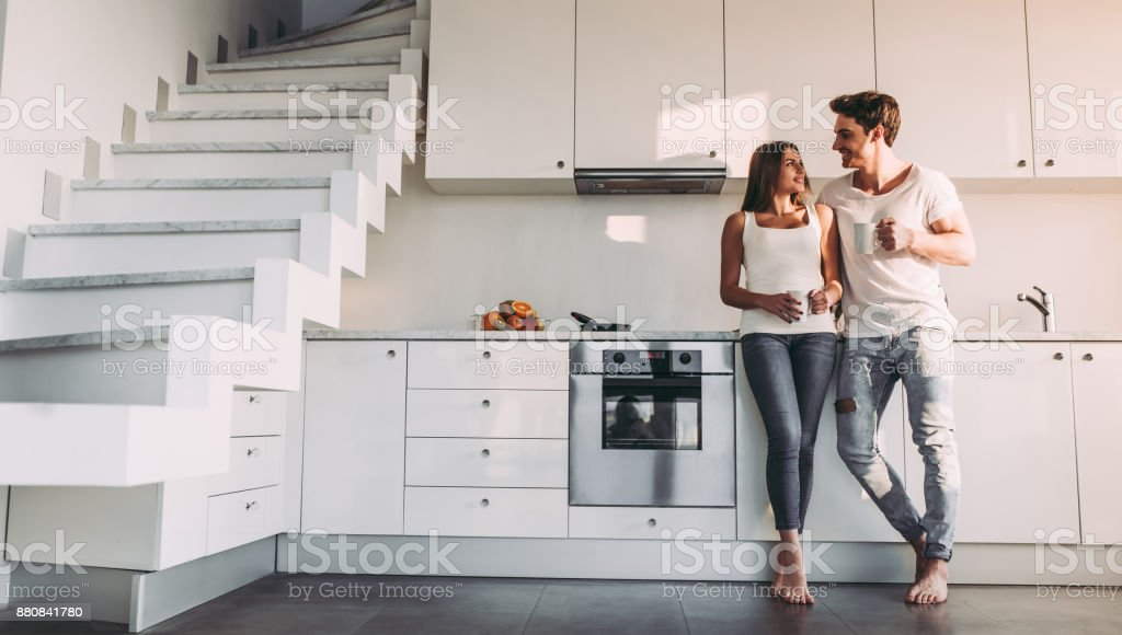 Couple at home. stock photo