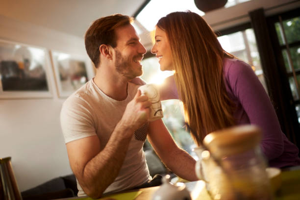 couple at home - i love you stock photos and pictures