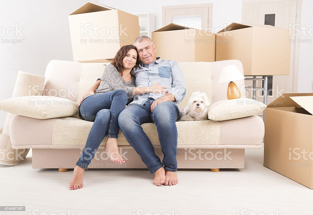 Couple at new home stock photo