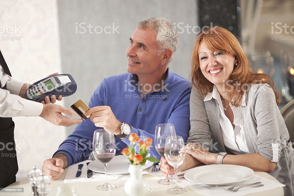 Couple at restaurant. royalty-free stock photo