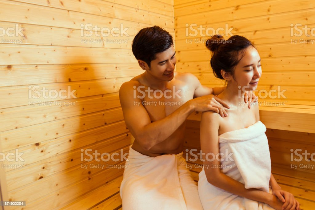 Couple At Sauna Spa Healthy Concept Young Asian Man Handsome And Woman Beautiful Together Sitting