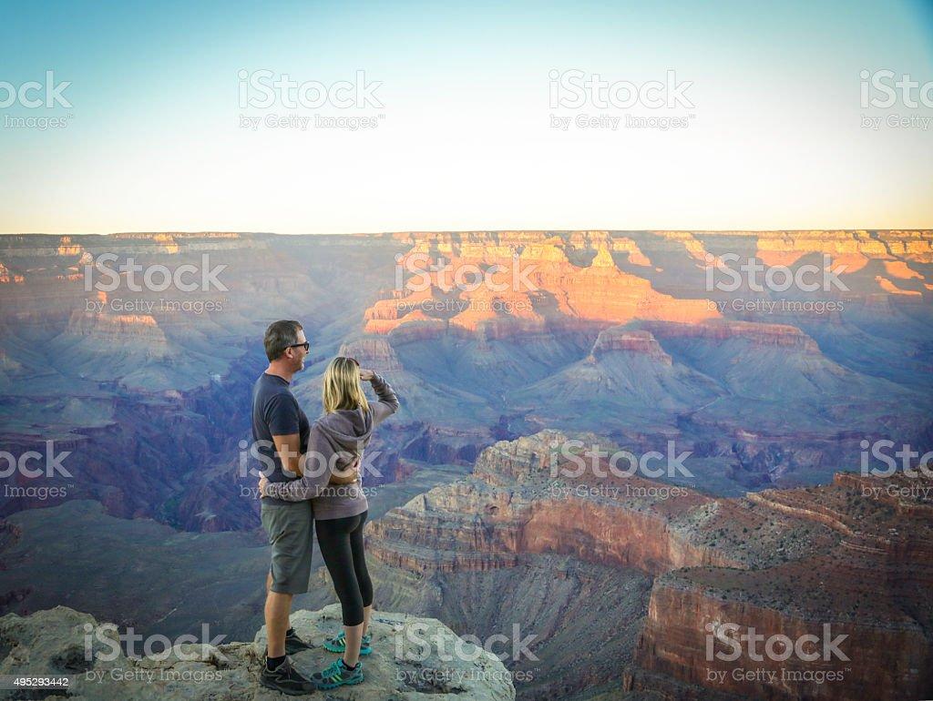 Couple at South Rim Grand Canyon stock photo