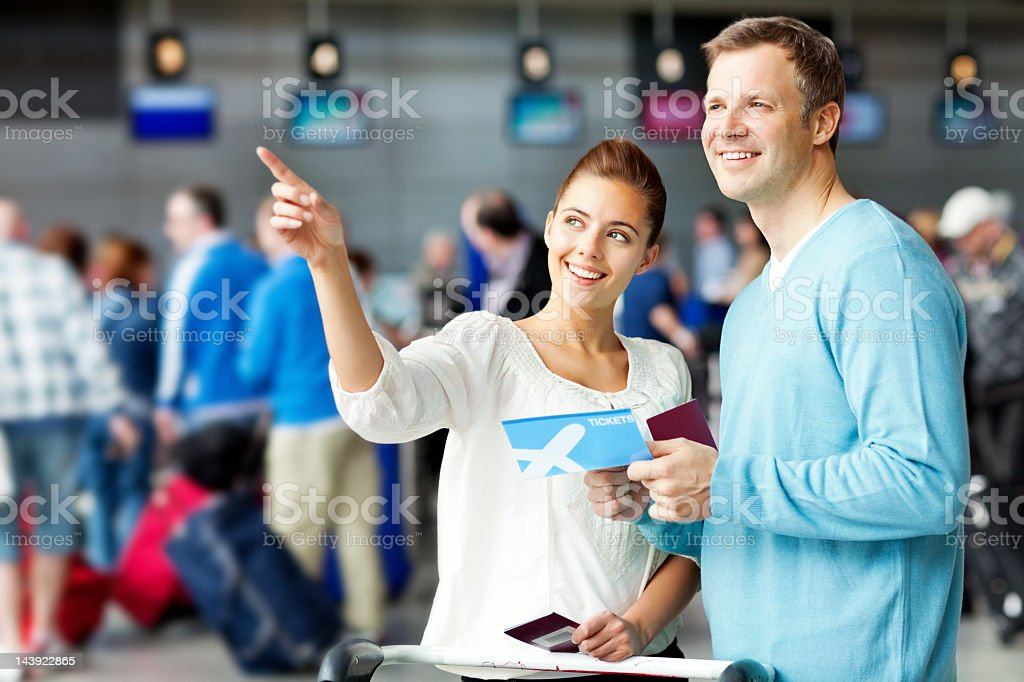 Couple at the Airport royalty-free stock photo