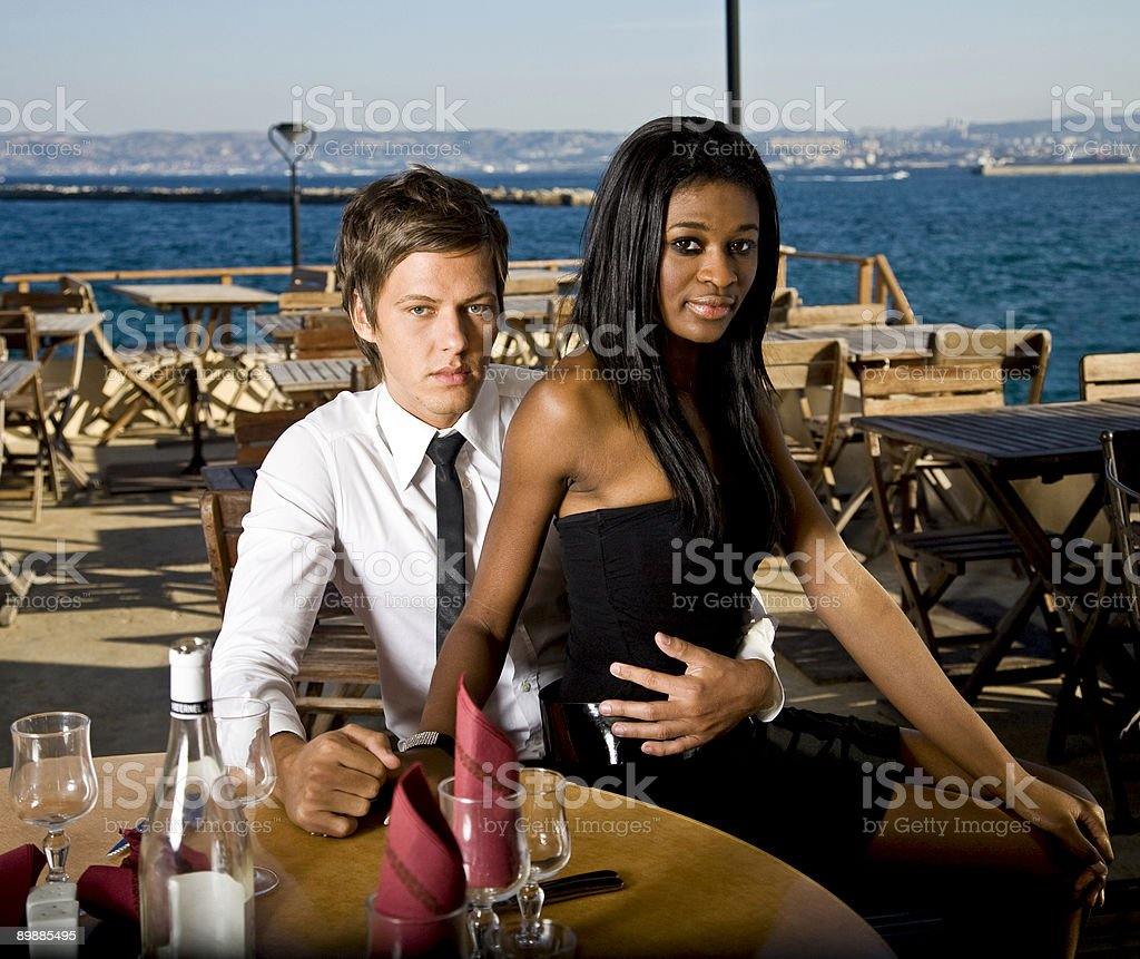 couple at the beach restaurant royalty-free stock photo