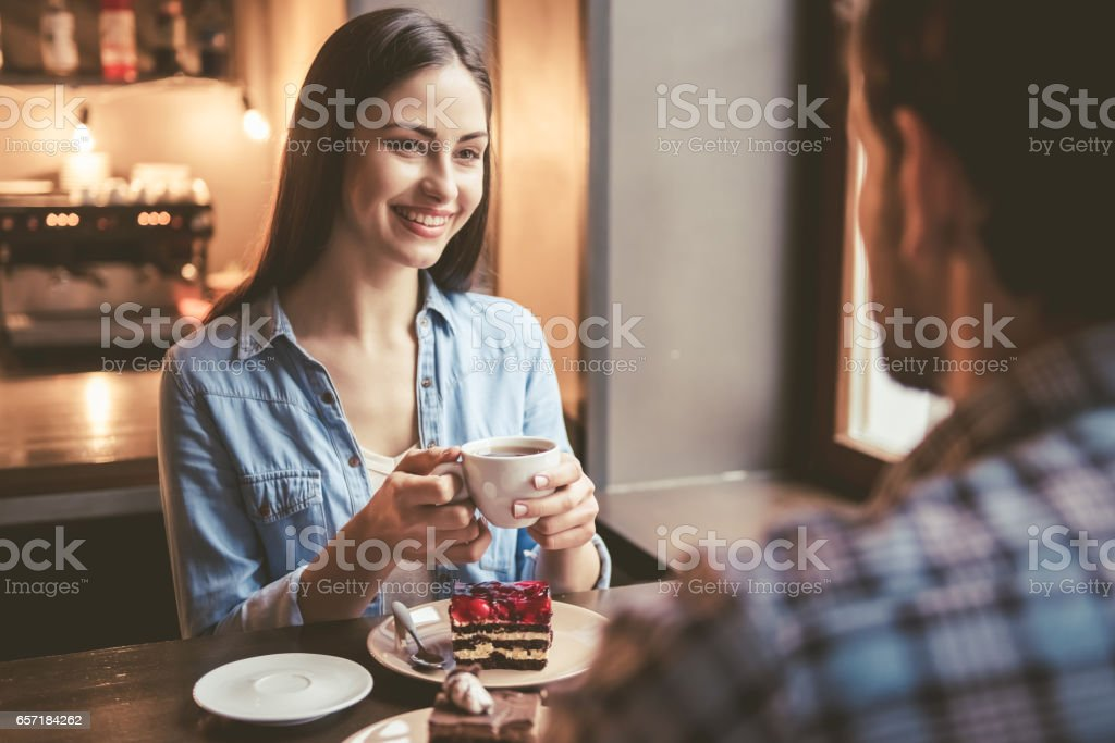 Couple at the cafe stock photo
