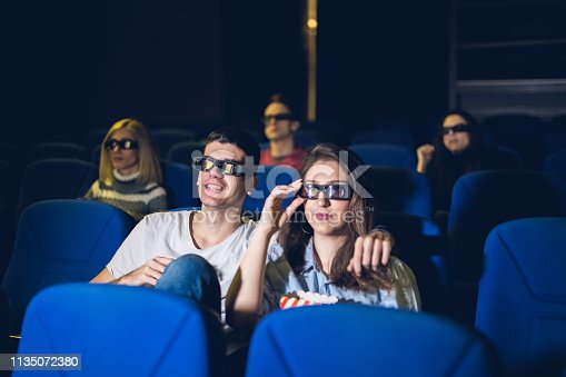 Couple watching a movie at the cinema theater.