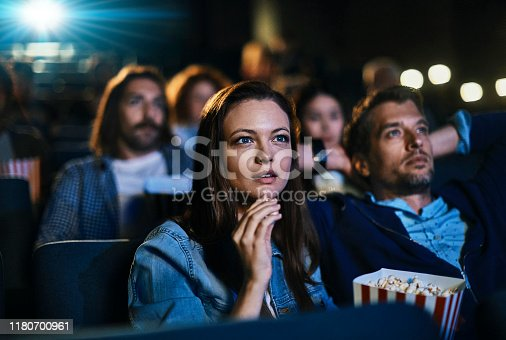 Close up of a couple enjoying a movie in the cinema