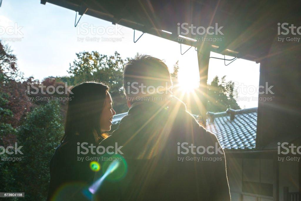 Couple au Temple Tofuku-ji photo libre de droits