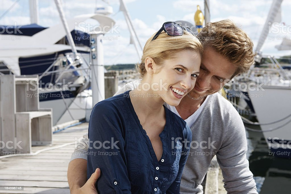 Couple at wooden pier royalty-free stock photo