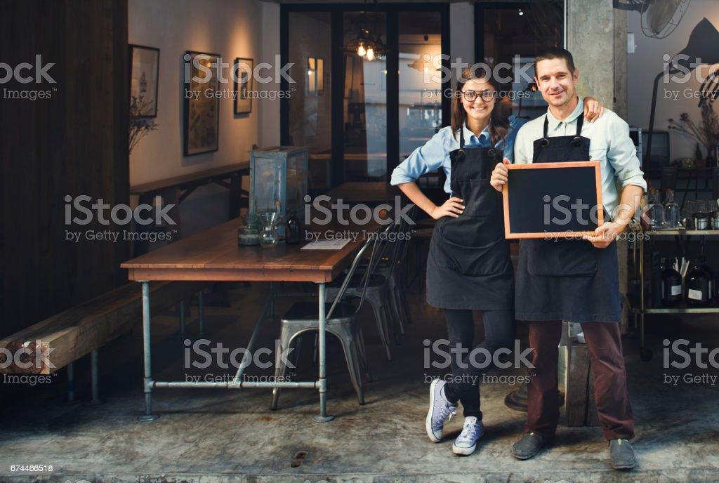 Couple Barista Coffee Shop Service Restaurant Concept stock photo