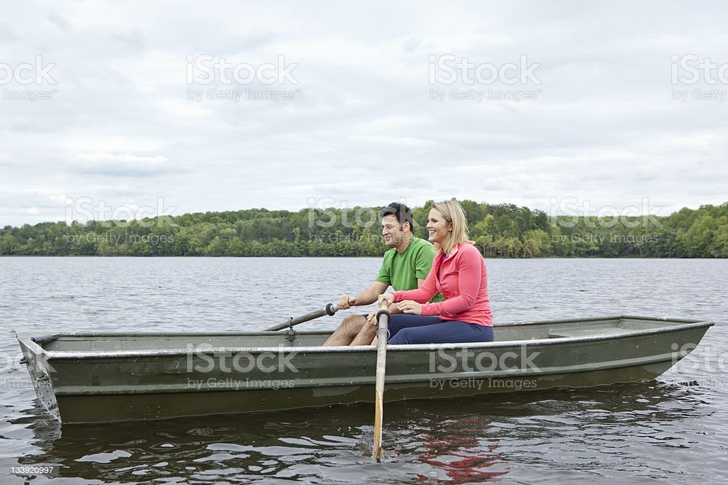 Couple Boating royalty-free stock photo