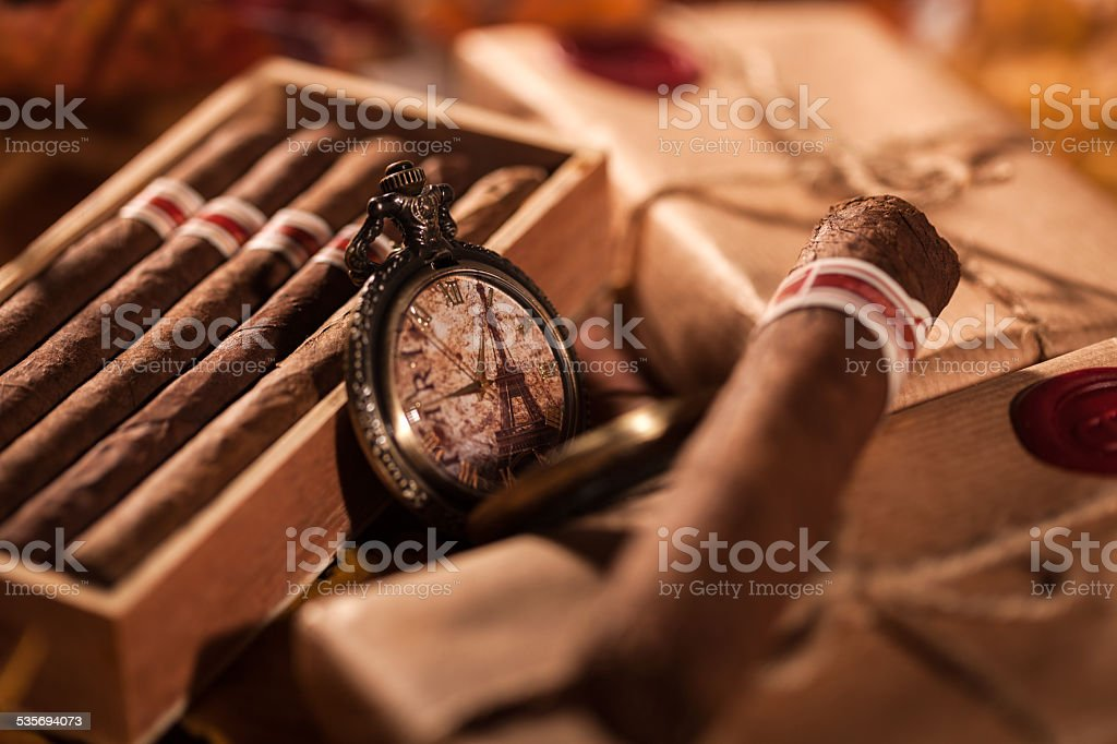 Couple boxes of fine cigars - great gift from friend stock photo