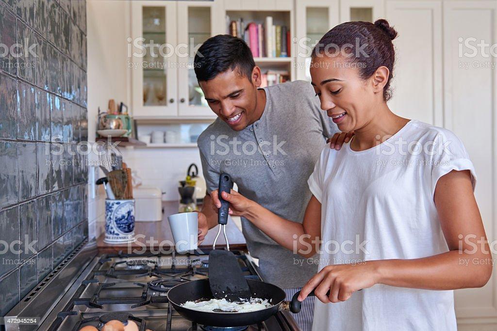 couple breakfast eggs stock photo