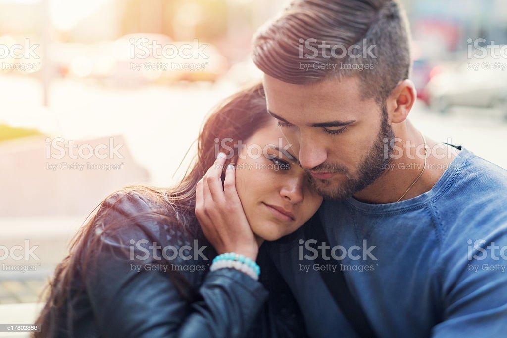 Couple breaking up stock photo