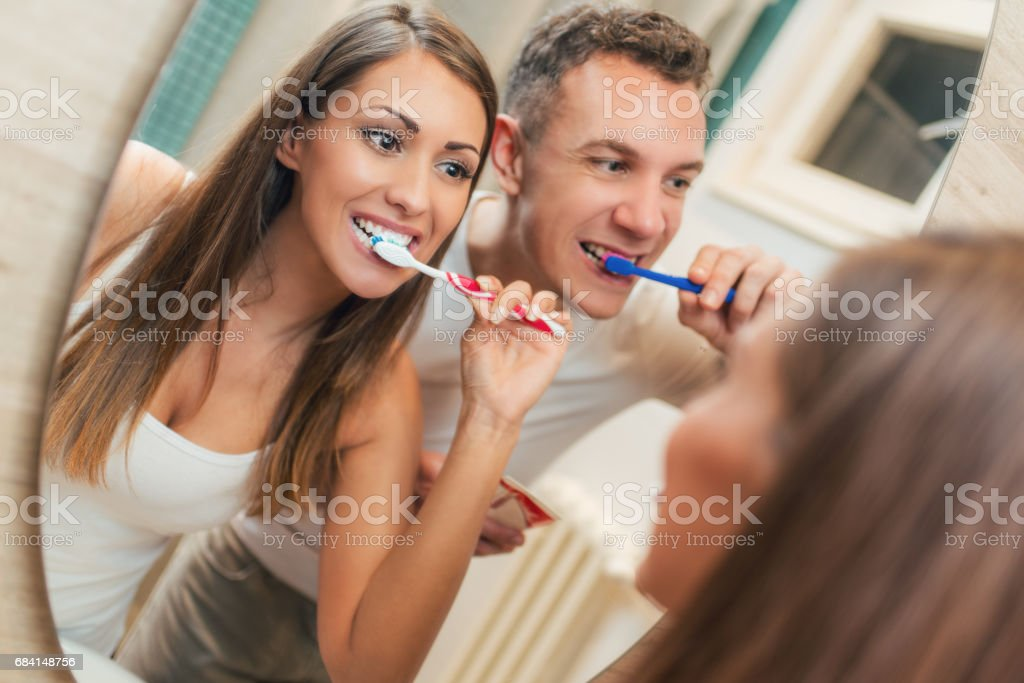 Couple Brushing Teeth foto stock royalty-free