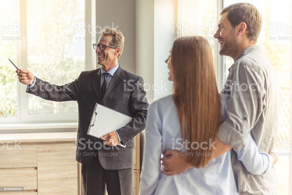 Couple buying new apartment stock photo