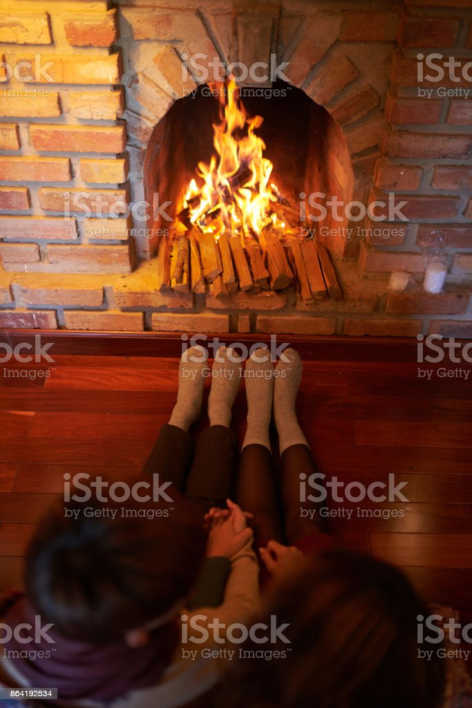 Couple by chimney royalty-free stock photo