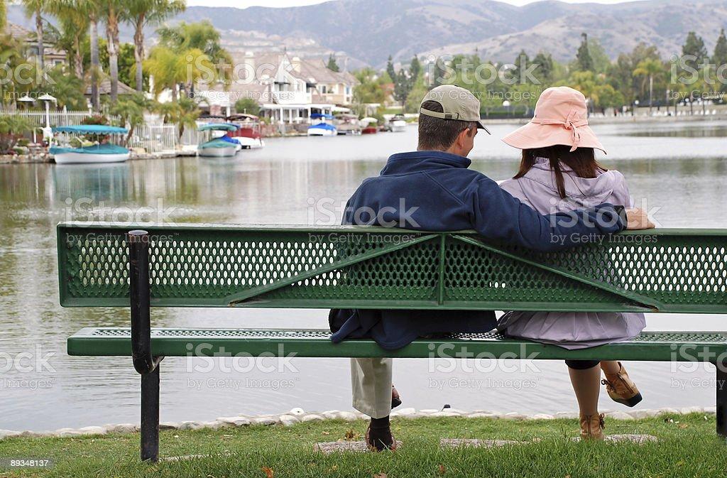 Couple by the Lake - Man Smiles royalty-free stock photo