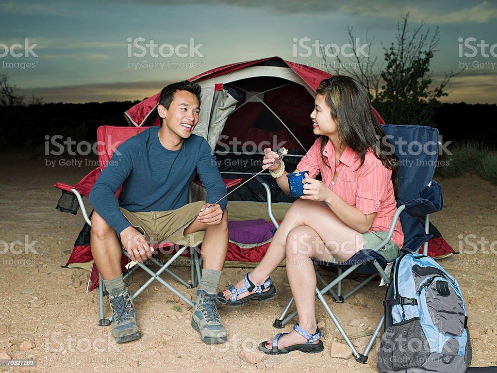 Couple camping 免版稅 stock photo