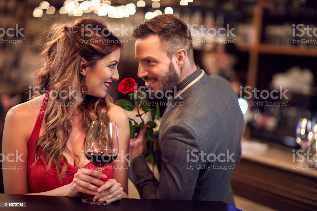 Couple celebrate St. Valentine stock photo