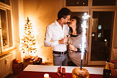 couple celebrate the new year together