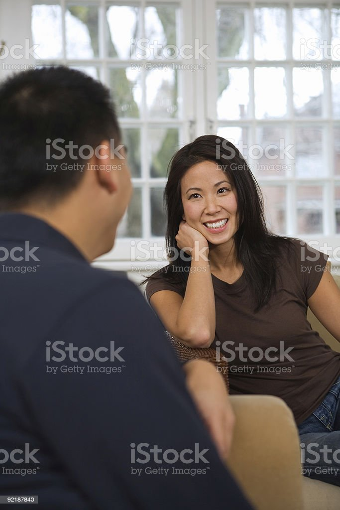 Couple Chatting At Home royalty-free stock photo