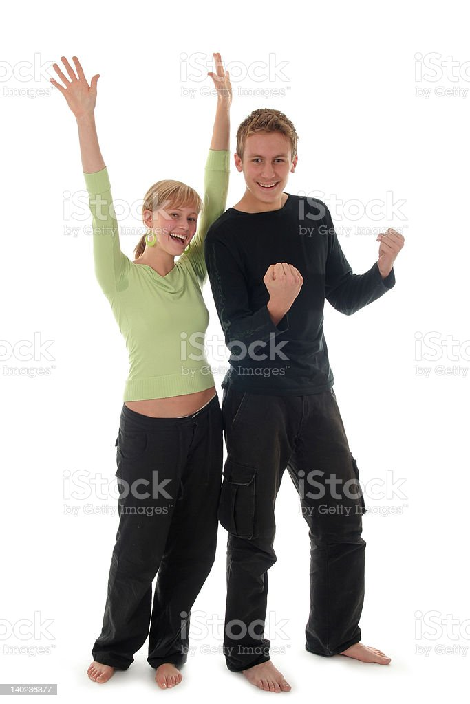 Couple Cheering royalty-free stock photo
