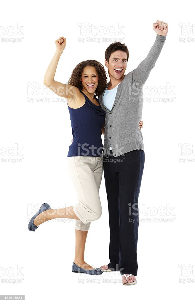 Couple Cheering Together - Isolated royalty-free stock photo