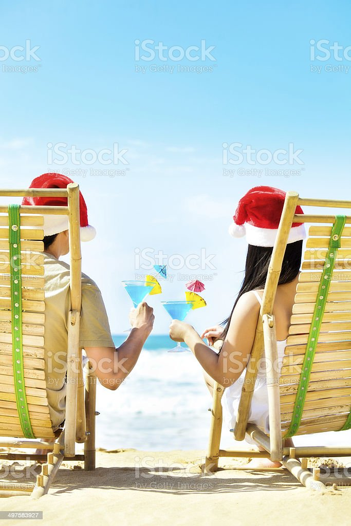 Couple Christmas Vacation in Tropical Beach Vertical royalty-free stock photo
