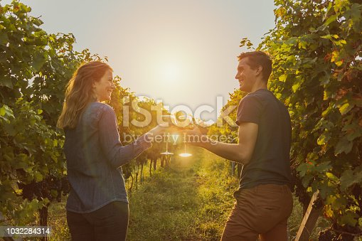woman with denim shirt and man with t-shirt drinking red wine during sunset. grapevine in Ticino.