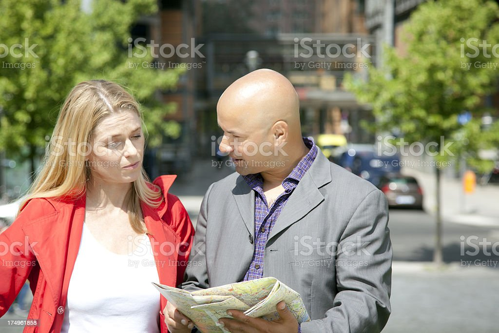 couple consulting city map royalty-free stock photo