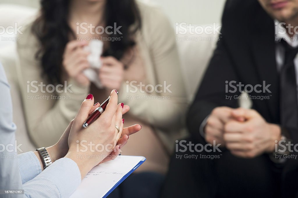 couple consults at the psychologist stock photo